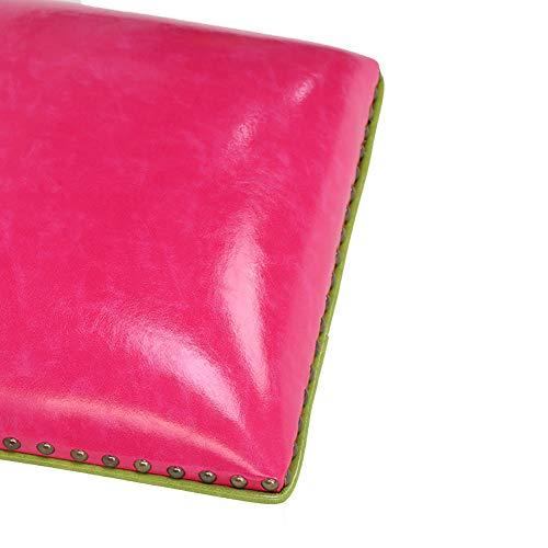 Cuero Cojín,Bolsa Blanda Cojín del Asiento De La Tarjeta Taburete De Zapato De Porche 7 Cm De Espesor Cojín De Esponja-Rojo Rosa 20 * 30 * 6cm