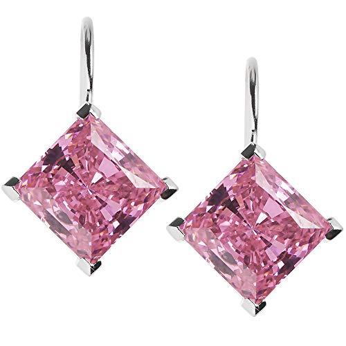 Damen Ohrhänger echt Silber 925 Sterling rhodiniert Pink Diamonique Ohrringe
