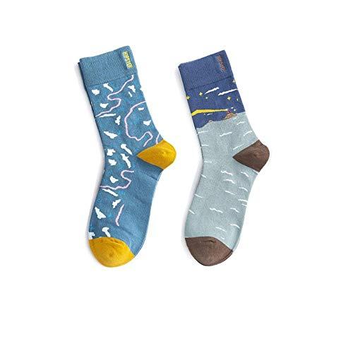 Novelty Sokken,3 paar lente en zomer blauw-bruin sokken mode minimalistische asymmetrische vliegtuig patroon katoen ademende comfortabele buis mannelijke en vrouwelijke sokken paar katoen sokken gepersonaliseerde kleding