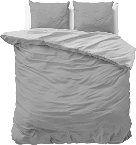 SLEEP TIME 100% Baumwolle Bettwäsche 200cm x 200cm Grau/Anthrazit - weich & bügelfrei Bettbezüge mit Reißverschluss - zweifarbiges Bettwäsche Set mit 2 Kissenbezüge 80cm x 80cm