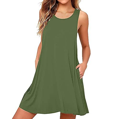 Coloody Vestido Casual de Verano Cuello Redondo Corto para Mujer Vestido sin Mangas con Bolsillos Vestido Suelto,sin Mangas,Falda del Tanque Falda Acampanada-Verde-S