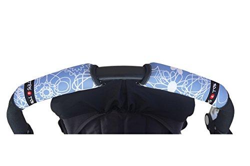 Tris&Ton Fundas empuñaduras horizontal doble Modelo Estampado Azul, empuñadura funda para silla de paseo cochecito carrito carro (Tris y Ton)