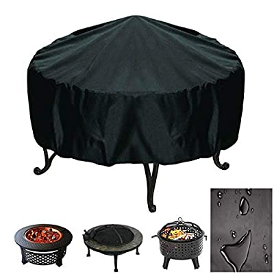 FLYHOME Fire Pit Cover Round Waterproof Windproof Garden Patio Fire Pit Bowl Cover with Drawstring, Firepit Cover Suitable for Outdoor BBQ Oven Fire Stove (76 x 30cm) by FLYHOME