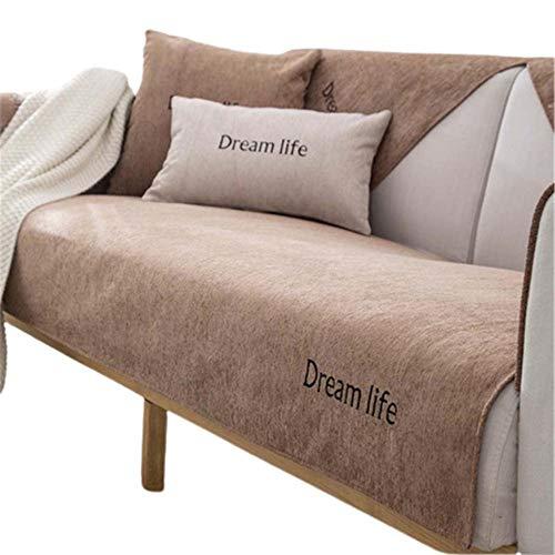 Funda Antideslizante de Chenilla para sofá,Fundas para sofá,Funda seccional para sofá,1,2,3,4 plazas Love Seat,sillón reclinable de Cuero en Forma de L,apoyabrazos,Respaldo,Color Camel,80X210c