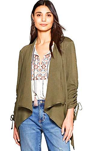 Knox Rose Women's Long Sleeve Drapey Open Jacket - Olive. Size: XX-Large