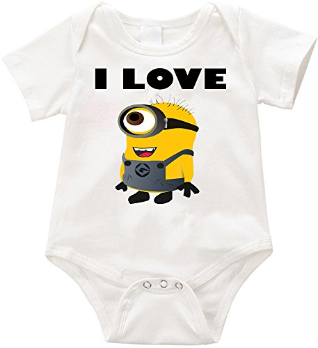 Anicelook I Love Minions-1 infant romper onesie creeper (3-6months, White)