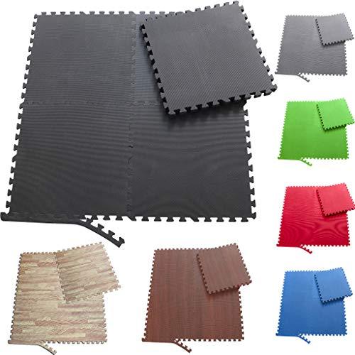 Sporttrend 24 - Schutzmatten Set 6-24teilig schwarz 60x60x10cm | Bodenschutzmatte Unterlegmatte für Fitnessgeräte Sportgeräte (4 Schutzmatten ohne Endstücke, schwarz)