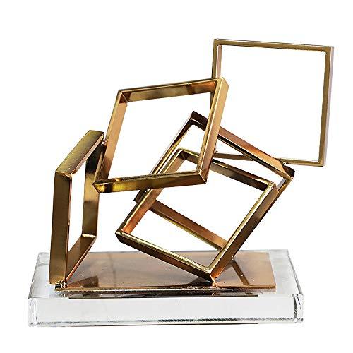 LCLZ Exquisite Nordic Moderne Goldene Metall Quadrat Ausgehöhlten Kunstwerk Dekoration Für Wohnzimmer Schlafzimmer Esszimmer Eingangsbereich Büro Kristallglas Basis Weinregal Ornamente 12x18,2x18,6cm