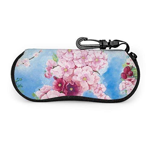 GOSMAO Funda Gafas Arte de flores de cerezo japonés rosa Neopreno Estuche Ligero con Cremallera Suave Gafas Almacenaje