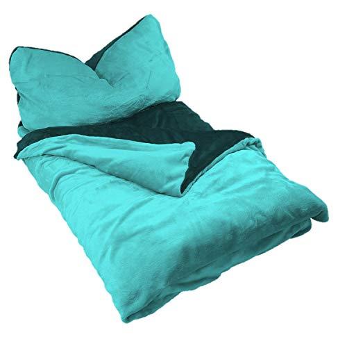 EXKLUSIV HEIMTEXTIL Ropa de cama de invierno reversible de 2 piezas, tacto cachemir, con cremallera, 135 x 200 cm + 80 x 80 cm, color antracita/turquesa