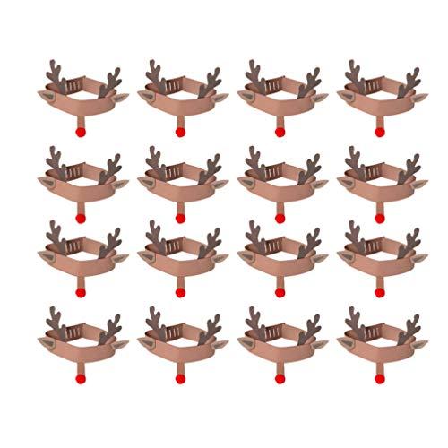 EXCEART Diademas de Cuernos de Reno de Navidad 16 Piezas Gorras de Anillo de Cabeza de Asta DIY Sombreros Caseros para Niños de Jardín de Infantes