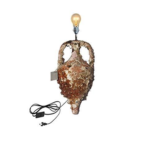 Lámpara Jordana MD37 35x13cm con vida marina. Réplica en pequeño de las ánforas del tipo Dressel 8 con producción entre los S.I y II dC, llegando hasta el periodo de Flavio.