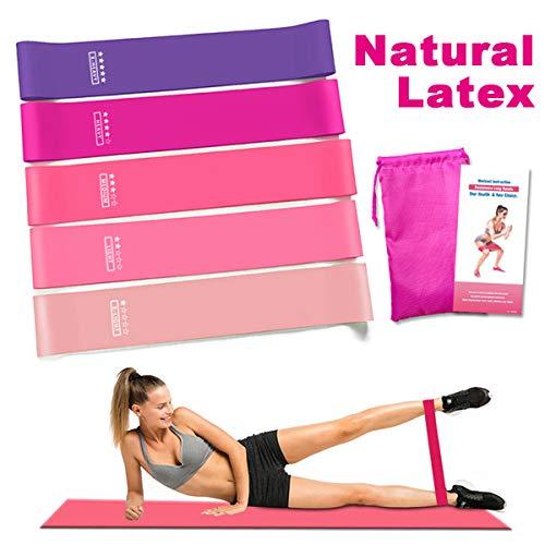 Victoper Set de 5 Bandas para Yoga/Crossfit/Entrenamiento de Fuerza/Pilates/Fisioterapia Fitness Elásticas de Resistencia con Guía de Ejercicios…