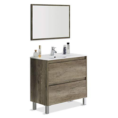 ARKITMOBEL Mueble de Baño con 2 Cajones y Espejo, Modulo Lavabo, Modelo Dakota, Acabado en Nordik, Medidas: 80 cm (Ancho) x 80 cm (Alto) x 45 cm (Fondo)