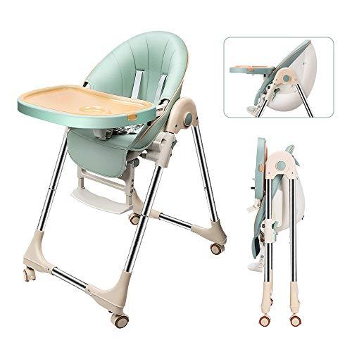 OUNUO Trona para Bebe Evolutiva, Trona para bebés con bandeja extraíble, Ajustable y Plegable con 4 ruedas, crece con el niño 0 meses - 6 años,Segura-Verde