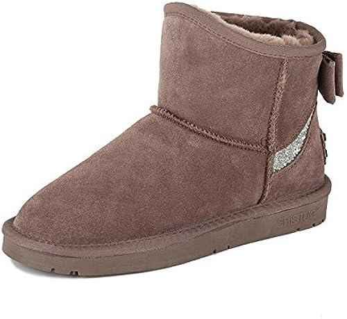 AGECC botas de mujer, cómodas, Bonitas, duraderas, con Lazo en la Boca, con Lentejuelas y tacón de Piel