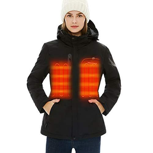 [2020 Upgrade] Women's Heated Jacket with Battery Pack, Heated Coat with Detachable Hood and Waterproof& Windproof