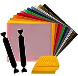 SISER EasyWeed Heat Transfer Vinyl, 12 x 15' 12-Color Starter Bundle Plus Vinyl Wrap Toolkit Including Yellow Detailer Squeegee & 2X BlackFelt Edges (12 Color Bundle w/Tools)