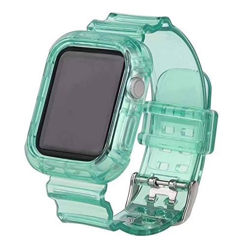 TIANQ - Correa deportiva transparente para Apple Watch Band Series 1, 2, 3, 4, 5, funda de goma, 38 mm, 40 mm, 42 mm, 44 mm, verde, 44 mm