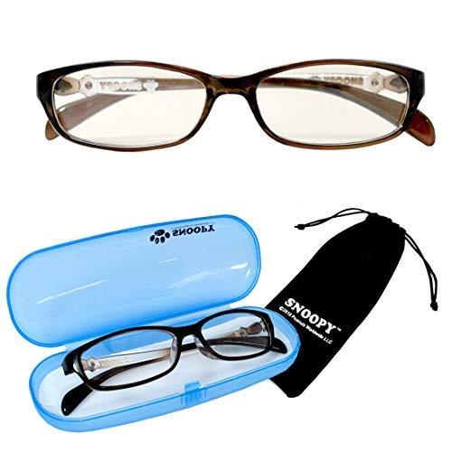 PCメガネ キッズ スヌーピー ブラウン SNOOPY [巾着+ケース付] ブルーライトカット 子供 小さめ 大き目 女性用メガネ pcメガネ パソコン用眼鏡 サングラス ファッション [並行輸入品]