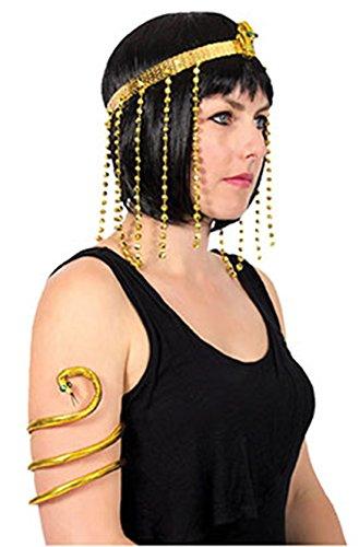 Halloweenia - Kleopatra Antike Kostüm Set- Haarreif + Schlangenkette Armreif Schmuck Orient Cleopatra goldglänzend, Gold