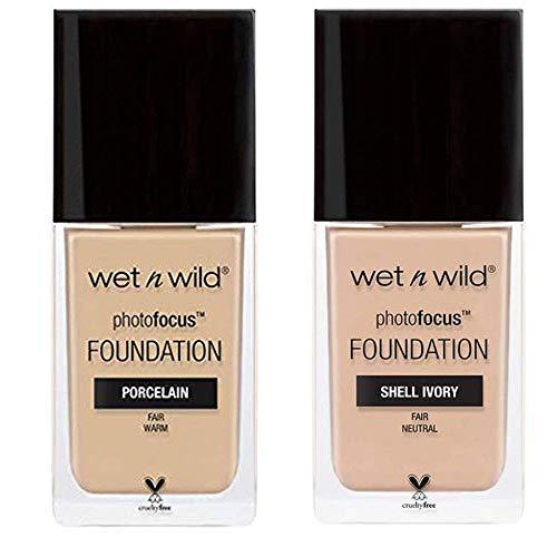 (2 Packs Mix) Wet N Wild Photo Focus Foundation 1 fl oz / 30 mL (Porcelain, Shell Ivory)