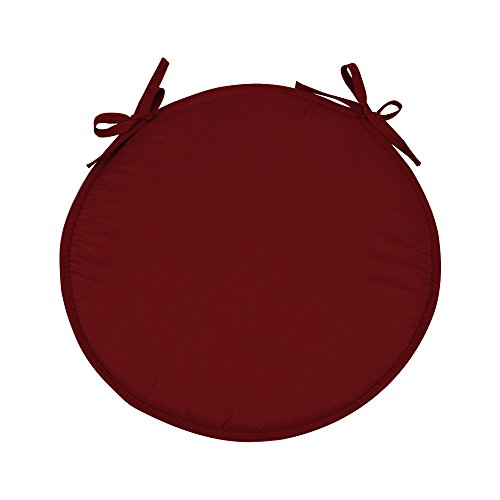 SIMPVALE 4 Stück Kissen rund für Stühle Sessel Platten Stühle Durchmesser 38 cm, dunkelrot