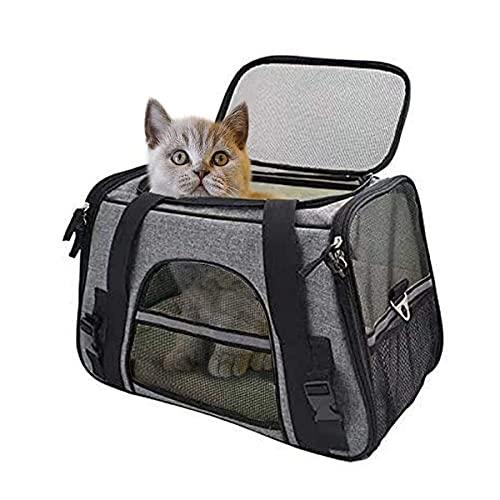 Katzentransportbox Faltbar, Transportbox Katze, Atmungsaktive Tragetasche mit Mesh für Kleine Hunde Katzen bis 15Lbs, Transporttasche aus Oxford-Gewebe zum Wandern, Reisen im Freien