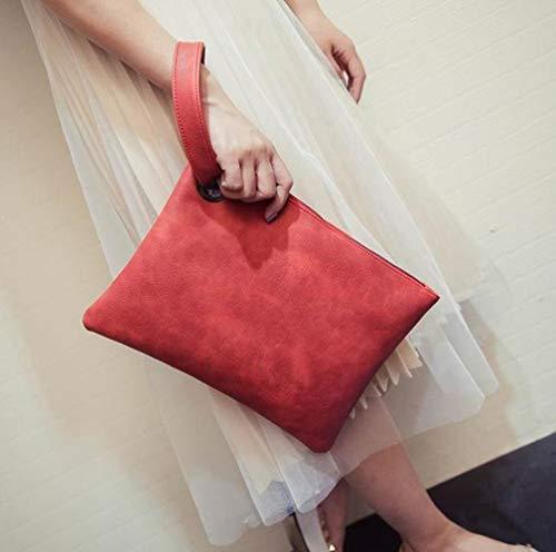 ABO Donne pochette pelle PU donna busta sacchetto Polsini Ladies sera borse portafoglio borse portafoglio borse, Rosso, 33 cm