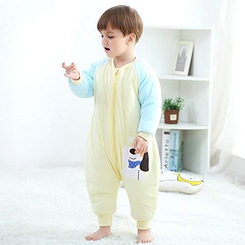Zachte warme babyslaapzak, kinderslaapzak met gespleten pijpen, dunne katoenen anti-kick-quilt - Puppy geel plus katoenen slaapzak_90 cm, voor peuters van 3 tot 18 maanden
