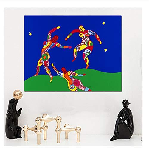 Suuyar Niki De Saint Phalle Der Tanz Abstrakte Ölgemälde auf Leinwand Zeichnung Kunst Wandkunst für Wohnzimmer Schlafzimmer -60x60cm Kein Rahmen