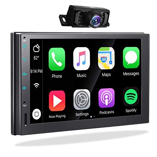 Autoradio 2din con Carplay Android Auto - 2G/32G Radio Bluetooth Auto 2 Din Android 10 Impianto Stereo Auto Doppio Din con Schermo 7 Pollici e Telecamera Posteriore Navigatore GPS USB Wifi Lettore MP3