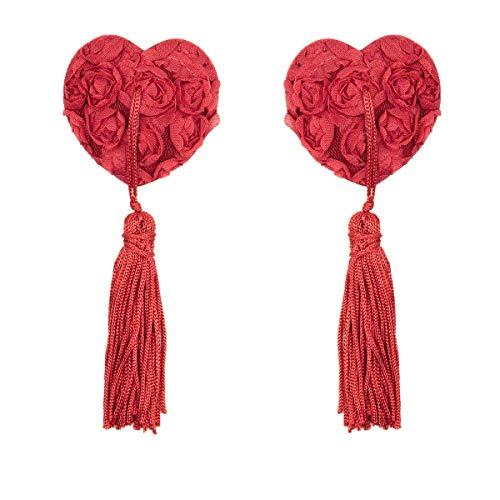 TENDYCOCO Petto seno riutilizzabile Copricapo sexy copricapo Reggiseno seno a forma di cuore con nappa (rosso)