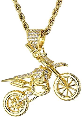 NC190 Collares con Colgante de Motocicleta con Hielo frío Completo, Collar de circonita cúbica de Cobre para Hombres, joyería de Hip Hop