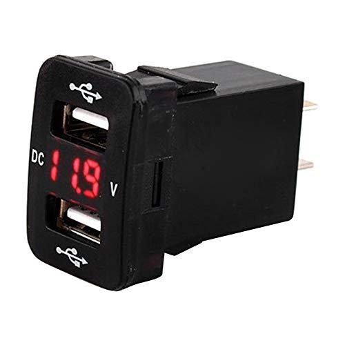 Gazechimp 12-24V Cargador de Coche USB Dual Enchufe Digital Adaptador de Corriente Pantalla de Voltímetro Adecuado para - Red1