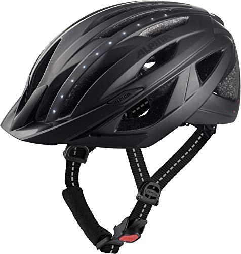ALPINA HAGA LED Fahrradhelm, Unisex– Erwachsene, black matt, 51-56