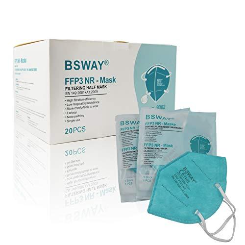 BSWAY® 20X FFP3 Atemschutzmaske Staubschutzmaske Mundschutzmaske einzelverpackt - zertifiziert CE1463 - EU 2016/425