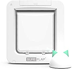 Smart app-controlled microchip pet door SureFlap Hub included Lock/unlock the pet door remotely and change curfew times Monitor your pet's long-term activity and spot changes Suitable for cats and small dogs
