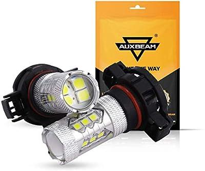 Auxbeam 5201 5202 LED Fog Light Bulbs 3000K Golden Yellow Super Bright H16 LED Bulb High Power 50W 12V LED 9009 5202 Bulb for Signal, Turn, Brake, Parking, Tail, DRL (Set of 2)