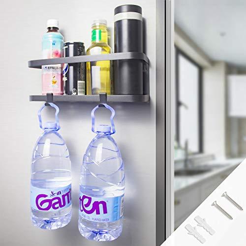 Hängeregal für Kühlschrank Kühlschrank Regal Magnet Montage Gewürzregal mit Ablage Haken Küchenregal Küchen Organizer Aufbewahrung Magnetischer Speicher Organisator Regal Gewürzglasgestell Küche