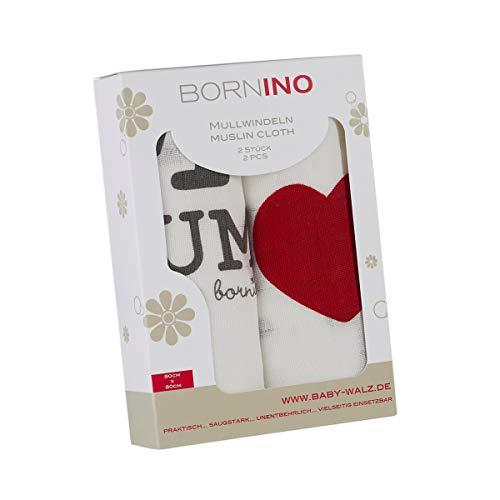 BORNINO Basics Mullwindeln/Spucktücher - 2er Pack, onesize, 80x80 cm, weiß, verstärkte Umrandung, mit Spruch - Stoffwindeln & Mulltücher fürs Baby