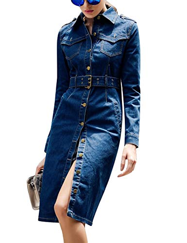 Tanming Women's Casual Distressed Lapel Ripped Denim Jean Long Dress Jacket Coat (Blue-L)