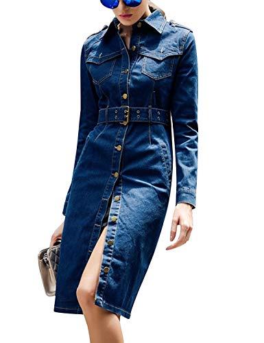 Tanming Women's Lapel Collar Epaulet Buttons Up Outerwear Denim Jean Long Coats Jackets (Blue, Medium)