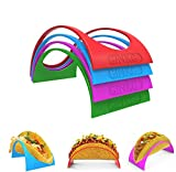 GINKGO Taco Holder Stand up Set of 12, 4 Colorful Plastic Taco Shell