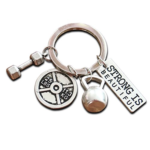Spezielle Schlüsselbund mit Mini Hantel Kettlebell und Gewicht Fitness Gym Schlüsselring für Bodybuilder Geschenk für Bodybuilding & Gewichtheben CrossFit Geschenke Stärke Leichtathletik