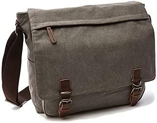 Canvas Leather Crossbody Bag Men Military Vintage Messenger Bags Postman Shoulder Bag Office Laptop Case