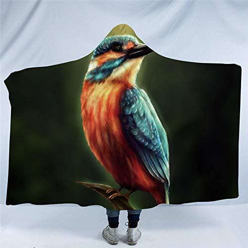 WWTZ Kingfisher by KhaliaArt Couverture à Capuchon Vivid imprimée en 3D avec Une Couverture Sherpa en Polaire Chaude et Une Couverture jetable