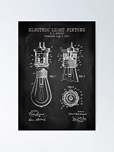 AZSTEEL Electric Light Fixture Chalkboard Patent Poster Best Gift for Mothers Day