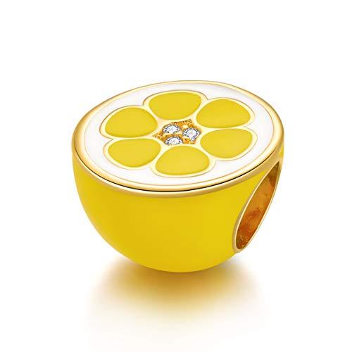 Encantos de limón fresco aptos para pulseras Pandora Charm de plata de ley, cuentas de cristal amarillo