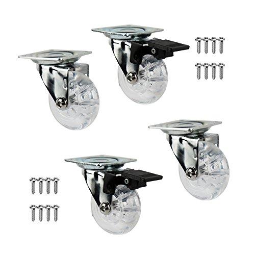 QC-EMMA50T22P 4 Ruedas para muebles 2 con freno y 2 sin freno. Diámetro 50mm con placa de montaje y tornillos incluidos. (50)